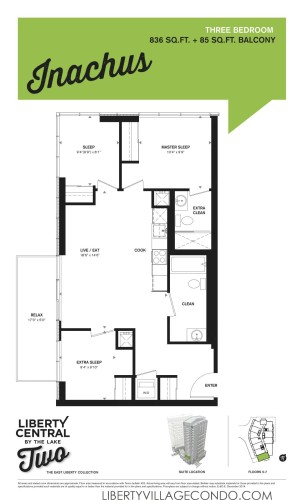Liberty Central by the lake phase 2 three Bedroom floor plan_Inachus