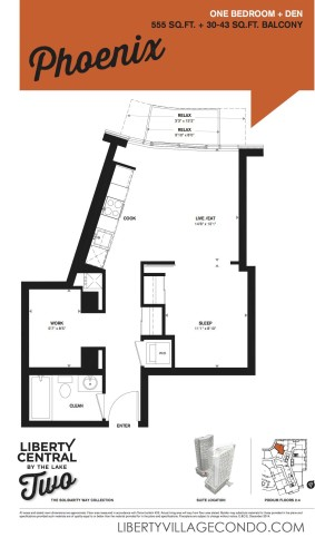 Liberty Central by the lake phase two 1 Bedroom Pheonix floor plan