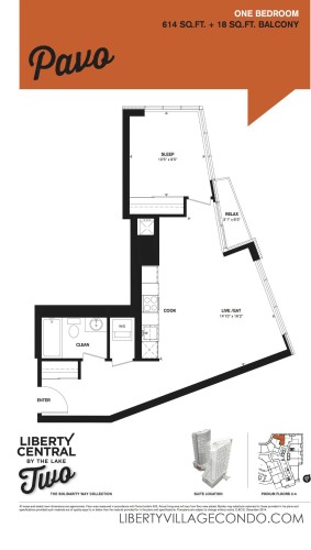 Liberty Central by the lake phase two 1 Bedroom floor plan_Pavo