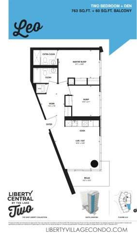 Liberty Central by the lake two floorplan for 2 Bedroom+Den_Leo