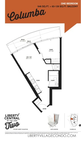 Liberty Central phase 2 1 Bedroom condo floor plan_Columba
