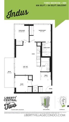 Liberty Central phase 2 3 Bedroom+Den_Indus floor plan