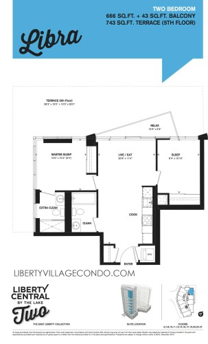 Liberty central 2 by the lake condo floor plan 2 Bedroom_Libra