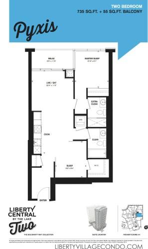 Liberty central 2 floorplan 2 Bedroom_Pyxis