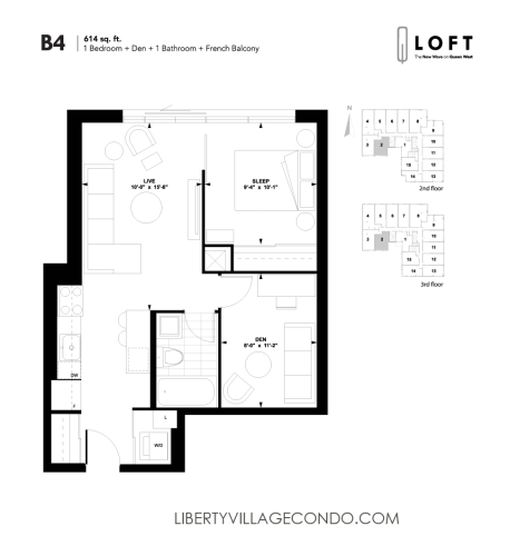 Q-Loft-Floor-Plan-1-bedroom+den-614-sq-ft-B4