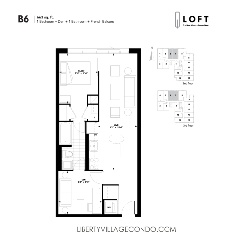 Q-Loft-Floor-Plan-1-bedroom+den-663-sq-ft-B6