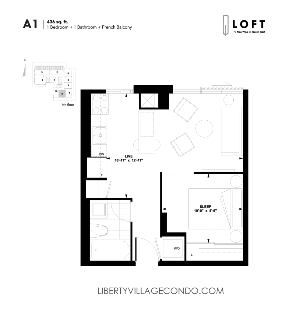 Q lofts 1205 queen st w liberty village condo for One bedroom loft floor plans