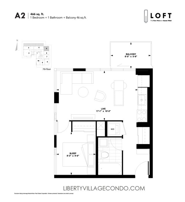 Q-Loft-floor-plan-1-bedroom-466-sq-ft-A2