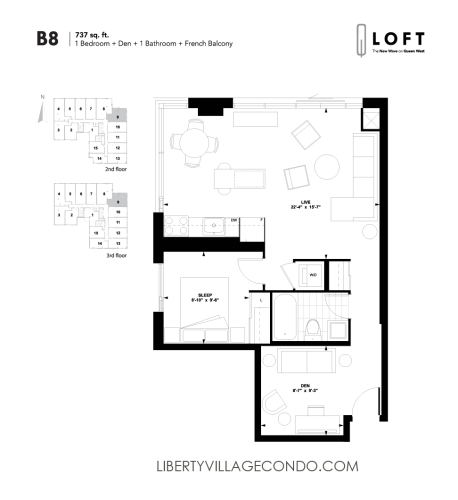 Q-Loft-floor-plan-1-bedroom+den-737-sq-ft-B8