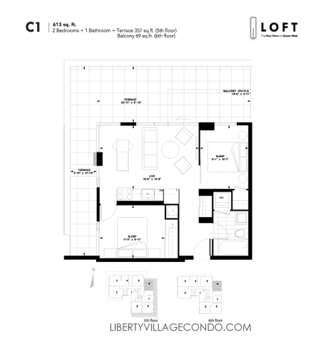 Q-Loft-floor-plan-2-bedroom-613-sq-ft-C1