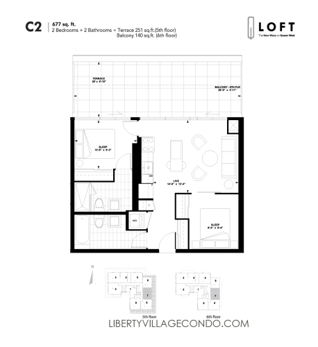 Q-Loft-floor-plan-2-bedroom-677-sq-ft-C2
