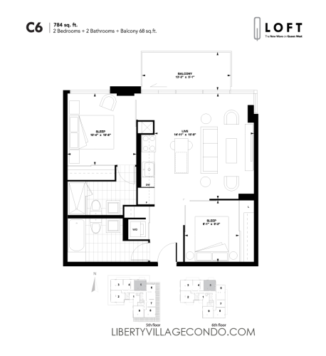Q-Loft-floor-plan-2-bedroom-784-sq-ft-C6