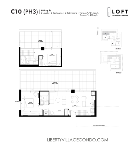 Q lofts 1205 queen st w liberty village condo for Two bedroom loft floor plans