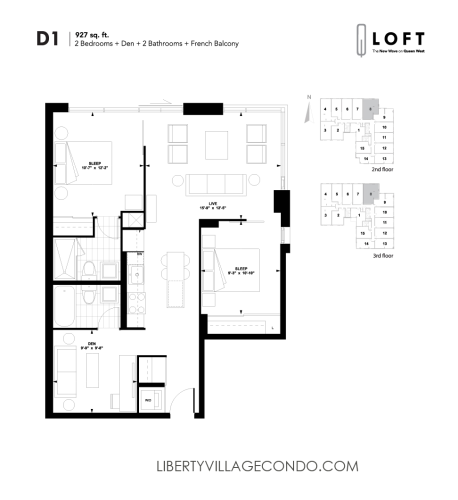 Q-Loft-floor-plan-2-bedroom+den-927-sq-ft-D1