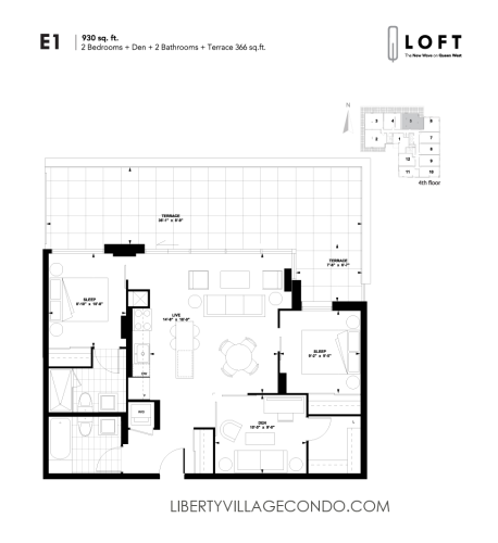 Q-Loft-floor-plan-2-bedroom+den-930-sq-ft-E1