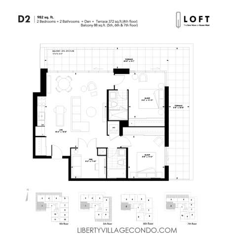 Q-Loft-floor-plan-2-bedroom+den-982-sq-ft-D2